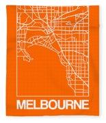 Orange Map Of Melbourne Fleece Blanket