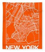 Orange Map Of New York Fleece Blanket