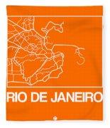 Orange Map Of Rio De Janeiro Fleece Blanket