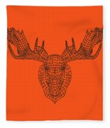 Orange Moose Fleece Blanket