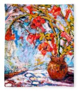 Orange Trumpet Flowers Fleece Blanket