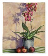 Orchids And Plums Fleece Blanket