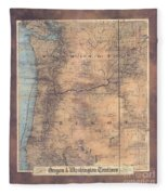 Oregon Washington Historic Map Colton Sepia Map Hand Painted Fleece Blanket