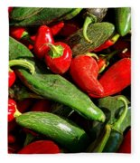 Organic Red And Green Peppers Fleece Blanket
