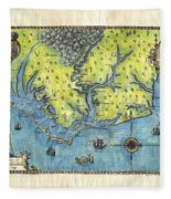 Outer Banks Historic Antique Map Hand Painted Fleece Blanket