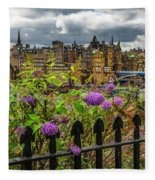 Overlooking The Train Station In Edinburgh Fleece Blanket
