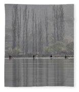 Paddling Under Poplars Fleece Blanket