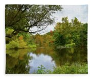 Painted Fall On The Back Pond Fleece Blanket