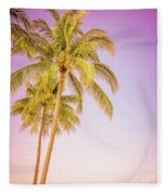 Palm Trees And Pink Sky Fleece Blanket