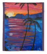 Palm Trees And Water Fleece Blanket