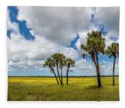 Palm Trees In The Field Of Coreopsis Fleece Blanket
