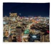 Panoramic View Of The Boston Night Life Fleece Blanket