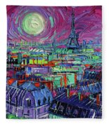Paris By Moonlight Fleece Blanket