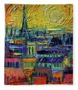 Paris Rooftops View From Centre Pompidou - Textural Impressionist Stylized Cityscape Mona Edulesco Fleece Blanket