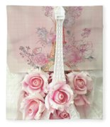 Paris Shabby Chic Pink White Roses Eiffel Tower Baby Girl Nursery Decor - Paris Pink Roses Fleece Blanket