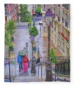 Paris Sous La Pluie Fleece Blanket