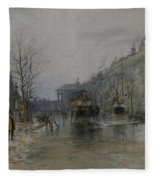 Paris Street Scene  Fleece Blanket