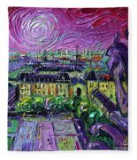 Paris View With Gargoyles Diptych Oil Painting Right Panel Fleece Blanket