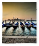 Parked Gondolas, Early Morning In Venice, Italy.  Fleece Blanket