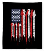 Patriotic Guitar Flag America Lovers Guitar Music Lovers Gifts Fleece Blanket