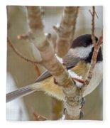 Peaceful Winter Chickadee  Fleece Blanket