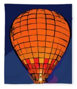 Peach Hot Air Balloon Night Glow In Abstract Fleece Blanket