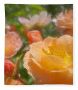 Peach Yellow Roses Fleece Blanket