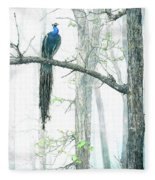 Peacock In Winter Mist Fleece Blanket