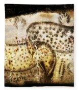 Pech Merle Horses And Hands Fleece Blanket