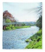 pedestrian bridge over river Tweed at Peebles Fleece Blanket