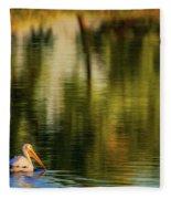 Pelican In Sunlight Fleece Blanket by John De Bord