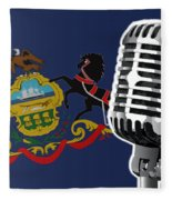 Pennsylvania Flag And Microphone Fleece Blanket