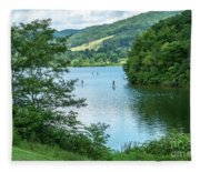 People Use Stand-up Paddleboards On Lake Habeeb At Rocky Gap Sta Fleece Blanket