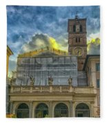 Piazza Di Santa Maria In Trastevere Fleece Blanket