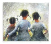 Pigtails Three Sisters Fleece Blanket
