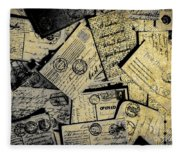 Piled Paper Postcards Fleece Blanket