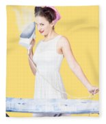 Pin Up Woman Providing Steam Clean Ironing Service Fleece Blanket