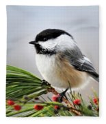 Pine Chickadee Fleece Blanket