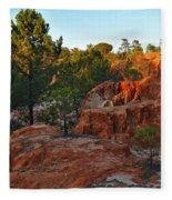 Pine Trees On Red Cliffs Fleece Blanket