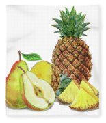 Pineapple Pear Watercolor Food Illustration  Fleece Blanket