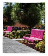 Pink Chairs At Grand Park Fleece Blanket