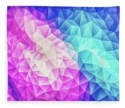 Pink Ice Blue  Abstract Polygon Crystal Cubism Low Poly Triangle Design Fleece Blanket
