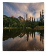 Pinnacle Peak Sunset Reflection Angles Fleece Blanket