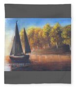 Plain Sailing, Boat Painting Fleece Blanket