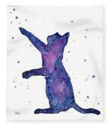 Playful Galactic Cat Fleece Blanket
