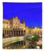 Plaza De Espana At Night Seville Andalusia Spain Fleece Blanket