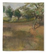 Ploughed Field Bordered By Trees Fleece Blanket