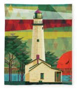 Point Aux Barques-michigan  Fleece Blanket