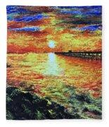 Pondicherry Beach Sunrise Fleece Blanket
