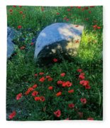 Poppies And Rocks Fleece Blanket